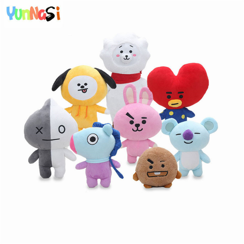 YunNasi Bangtan Boys Dolls Stuffed Soft Toys For Girls BT21 BTS Pillow Squishy Toys Plush Bolster Q Back Cushion Home Decoration