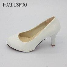 POADISFOO Shoes Women 2017 New Women Shoes 3 Color Black White Red Color PU Thin Heels Pumps Profession Pumps .DFGD-8807