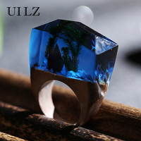 UILZ Green Grass Secret Wooden Resin Rings Unique Dark Blue Handmade Bague Luxury Brand Jewelry JWRP024