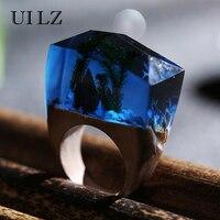 UILZ Green Grass Secret Wooden Resin Rings Unique Dark Blue Handmade Bague Luxury Brand Jewelry JWRP024