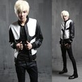 2017 new coat male Korean Slim fashion personality leather jacket in black and white stitching costumes leather jackets coat