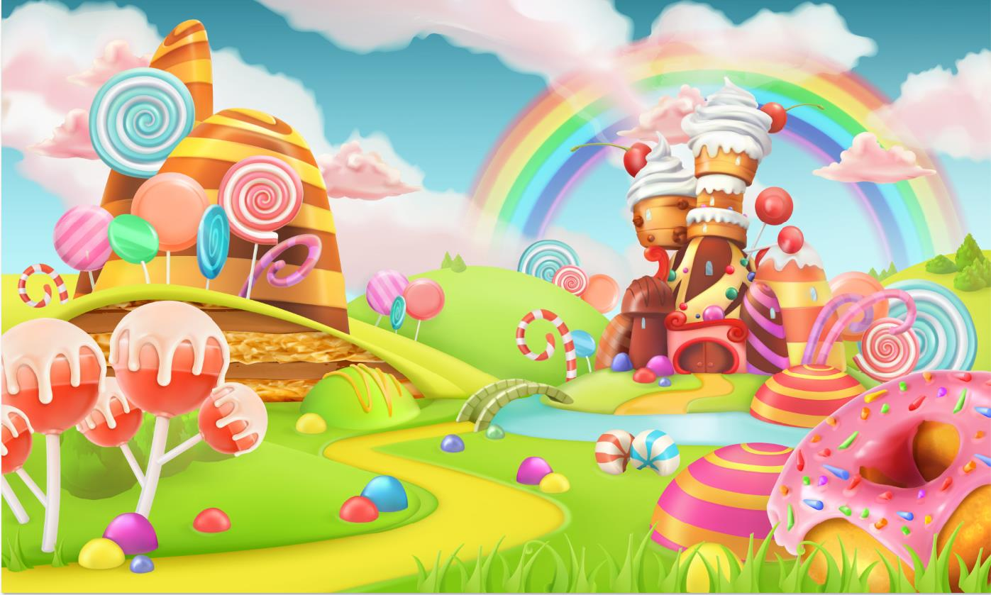 Rainbow Clouds Green Garden colorful Candy Land Chocolate cottage backdrops Vinyl cloth Computer printed wall Backgrounds