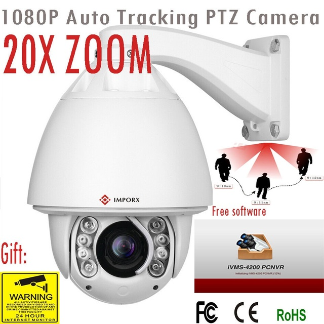 IMPORX IP Camera Auto Tracking 1080P 20X ZOOM P2P IR 150M With Wiper PTZ IP Camera Home Security Surveillance With MiscroSD Solt