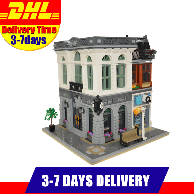 2017 New LEPIN 15001 2413Pcs City Street Brick Bank Model Building Kits Blocks Bricks Assembling Toys For Children Gift  10251 new lepin 16008 cinderella princess castle city model building block kid educational toys for children gift compatible 71040