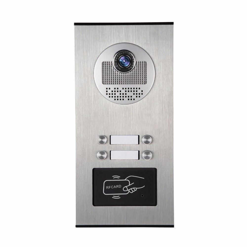 YobangSecurity Métal En Aluminium Extérieure RFID Contrôle D'accès Sonnette Caméra Pour 4 Unités Appartement Interphone Vidéo Porte Téléphone Système