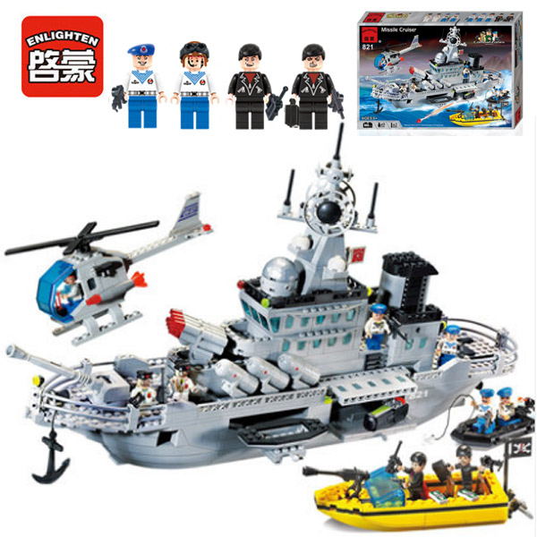 Enlighten 821 Modern Military Missile Cruiser Speedboat Combat Zones SWAT Model 843pcs B ...