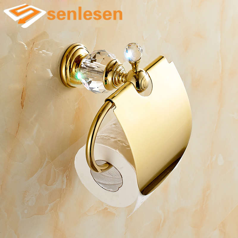 Wholesale And Retail Free Shipping Polished Golden Brass Bathroom Toilet Paper Holder Crystal Hanger Tissue Bar Holder wholesale and retail free shipping brass bathroom bath towel ring holder golden color
