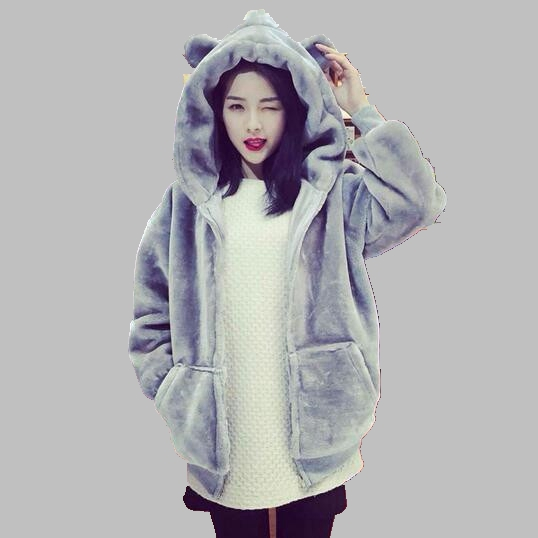 Winter Women Coat New Fashion Hooded Cotton Jacket Student Thicken Imitation Fur Coat Casual Large size