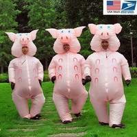 Inflatable Pig Costume Adult Fancy Dress Anime Cosplay Halloween Costumes For Women Man Pink Pig Cute Funny Inflatable clothes