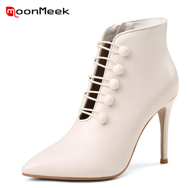 MoonMeek 2020 الأزياء الخريف الشتاء السيدات الأحذية حار بيع امرأة حذاء من الجلد شعبية جلد طبيعي سوبر عالية الكعب الأحذية-في أحذية الكاحل من أحذية على  مجموعة 1