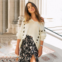 Women Lace Up V Neck Sweaters Autumn Winter  Pullovers Woman Tops Casual Hollow Out Knitted Jumpers