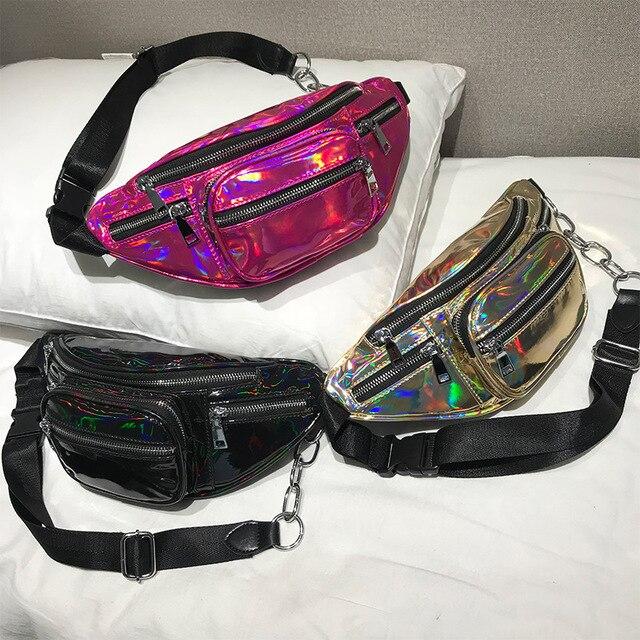 Лазерный поясная сумка Для женщин Сотовый Телефон поясная унисекс пояс сумка Голограмма деньги груди Ремни сумки