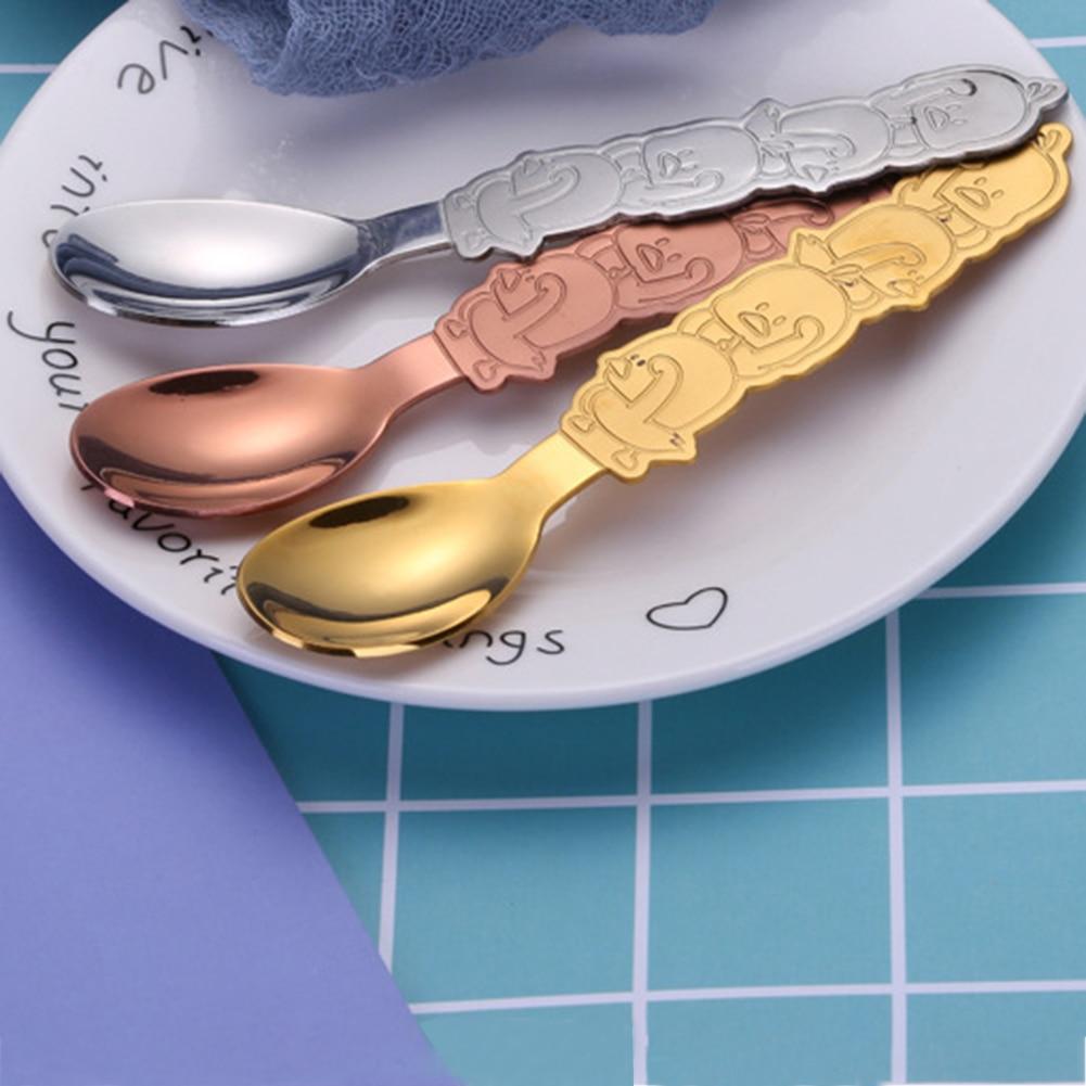 Новая ложка с ручкой в форме утки инновационный мультфильм 304 десерт торт из нержавеющей стали кофейная посуда для детей для питья
