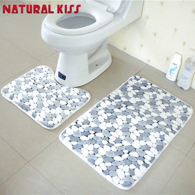 2pcs Set Modern Style Stone Bathroom Rug Mats Toilet Flower Pattern Bath Non Slip