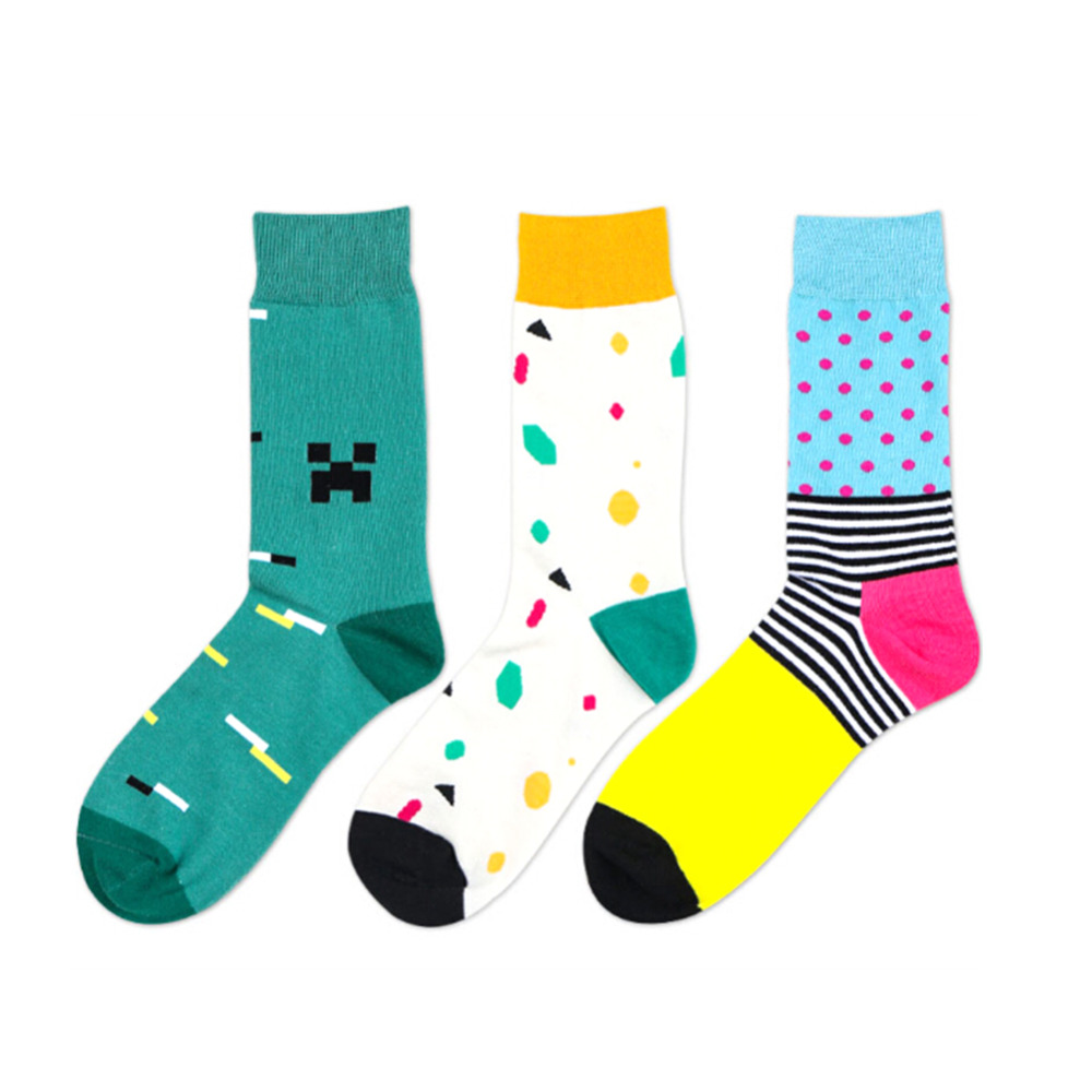 All Code 3 Kinds of Colors England Style Men Socks Sweat Anti-friction Breathable In the tube Cotton Boys Socks Casual Fashion