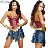 Wonder Women Costume Leather Dress Women Halloween Faux Leather Bodysuit Stage Show Costume Role Play Sexy Fancy Dress Adult New