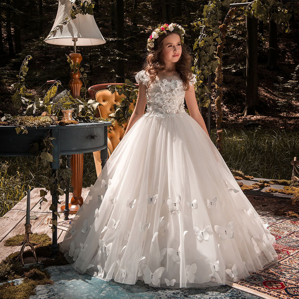 White ivory   Flower     Girl     Dresses   Butterfly Short Sleeves Ball Gown O-Neck First   Girls   Communion Gown   Girls   Pageant   Dress   New