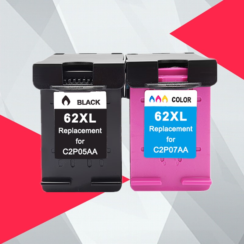 Compatible 62XL Ink Cartridge Replacement for HP 62 XL for HP62 Envy 5640 OfficeJet 200 5540