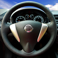 Hand-stitched Black Leather Steering Wheel Cover for Nissan Tiida Sylphy Sentra 2014 Note