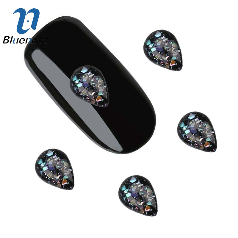 Blueness 3D Nail Art Decoration Teardrop Glitter Crystals Black Gem Glass Pattern Charms Nails Design Manicure Accessories