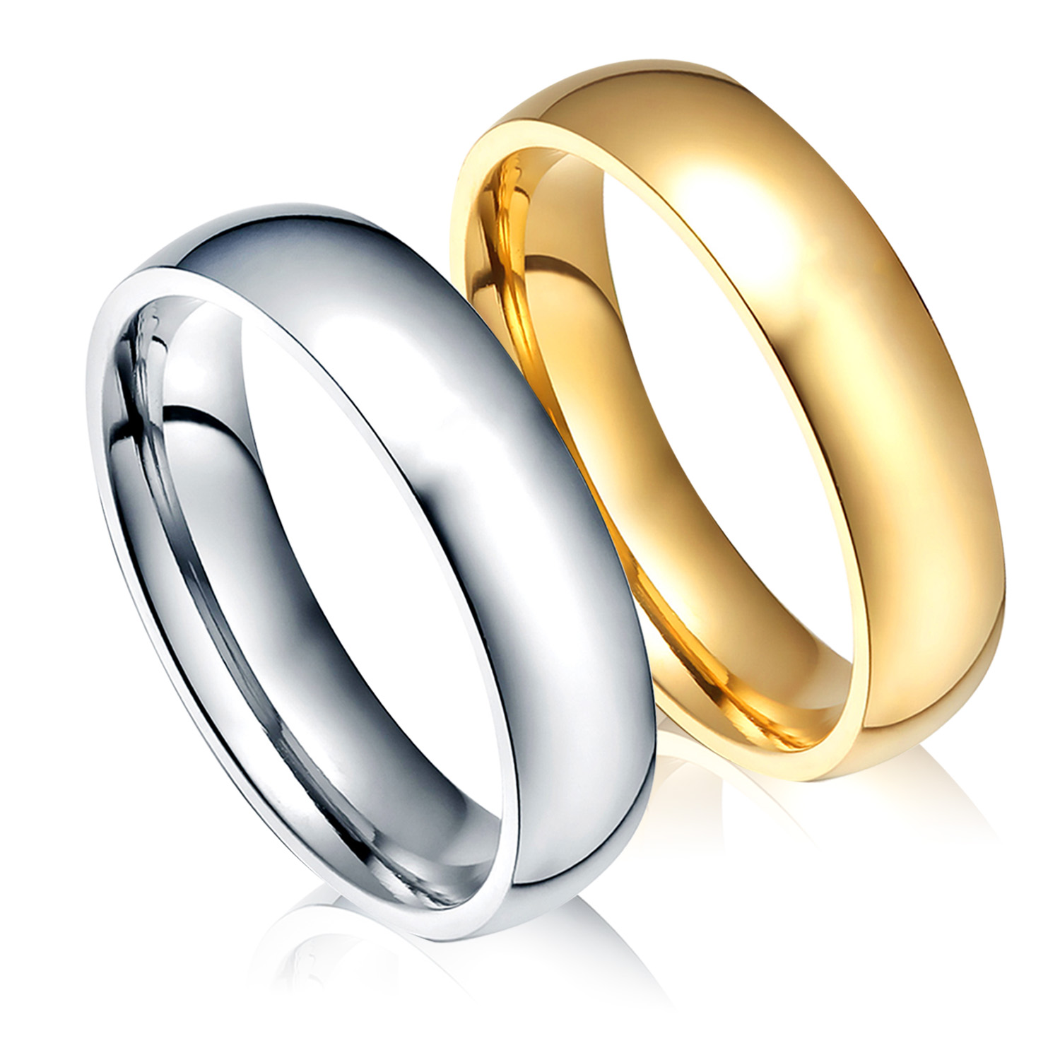 Woman 2013 Bands: Gold Color Wedding Bands Ring For Women Men Jewelry 6mm