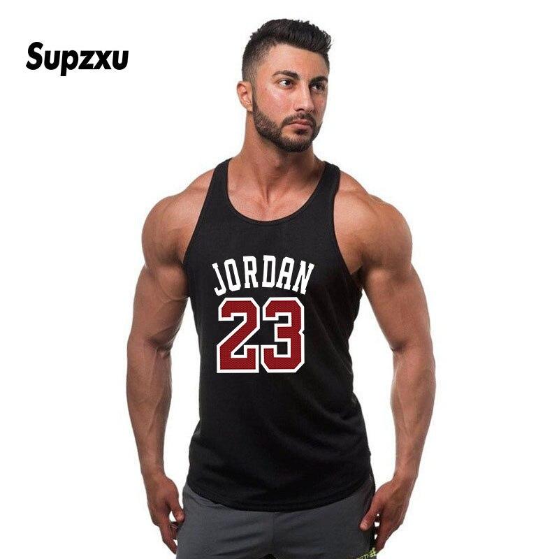 Brand Cotton Jordan 23 Men Vest Cotton Print Men Fitness   Tank     Tops   Fitness Camisetas Hip Hop sleeveless shirt sleeveless vest