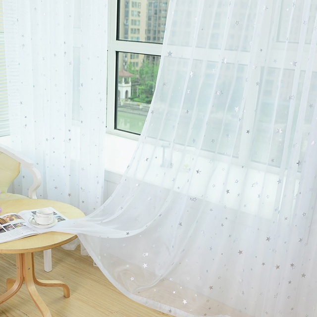 Bianco Star Tende di Tulle Tende Moderne per Soggiorno Trasparente Tende di Tulle Finestra Tende Trasparenti per la Camera Da Letto 234 e 20