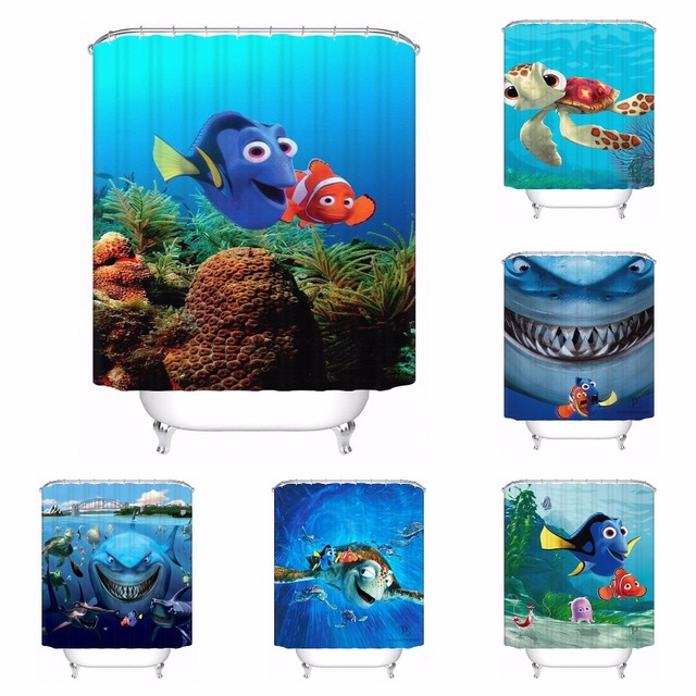 Custom Finding Nemo Bathroom Acceptable Shower Curtain Polyester Fabric 180320 01
