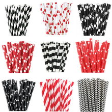 25pcs Black Red Paper Straws Design Straws for birthday wedding decorative party event Drinking Straws supplies