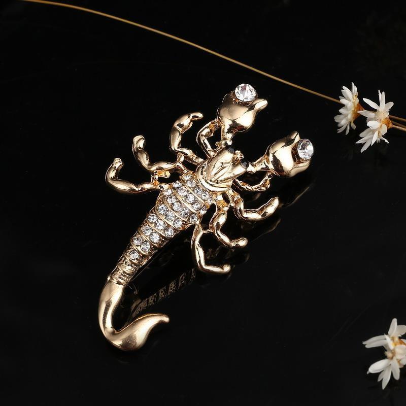 Hesiod Fashion Jewelry Wholesale Crystal Brooch Pin Vivid Scorpion Rhinestone Collar Brooches Dress Decoration 2