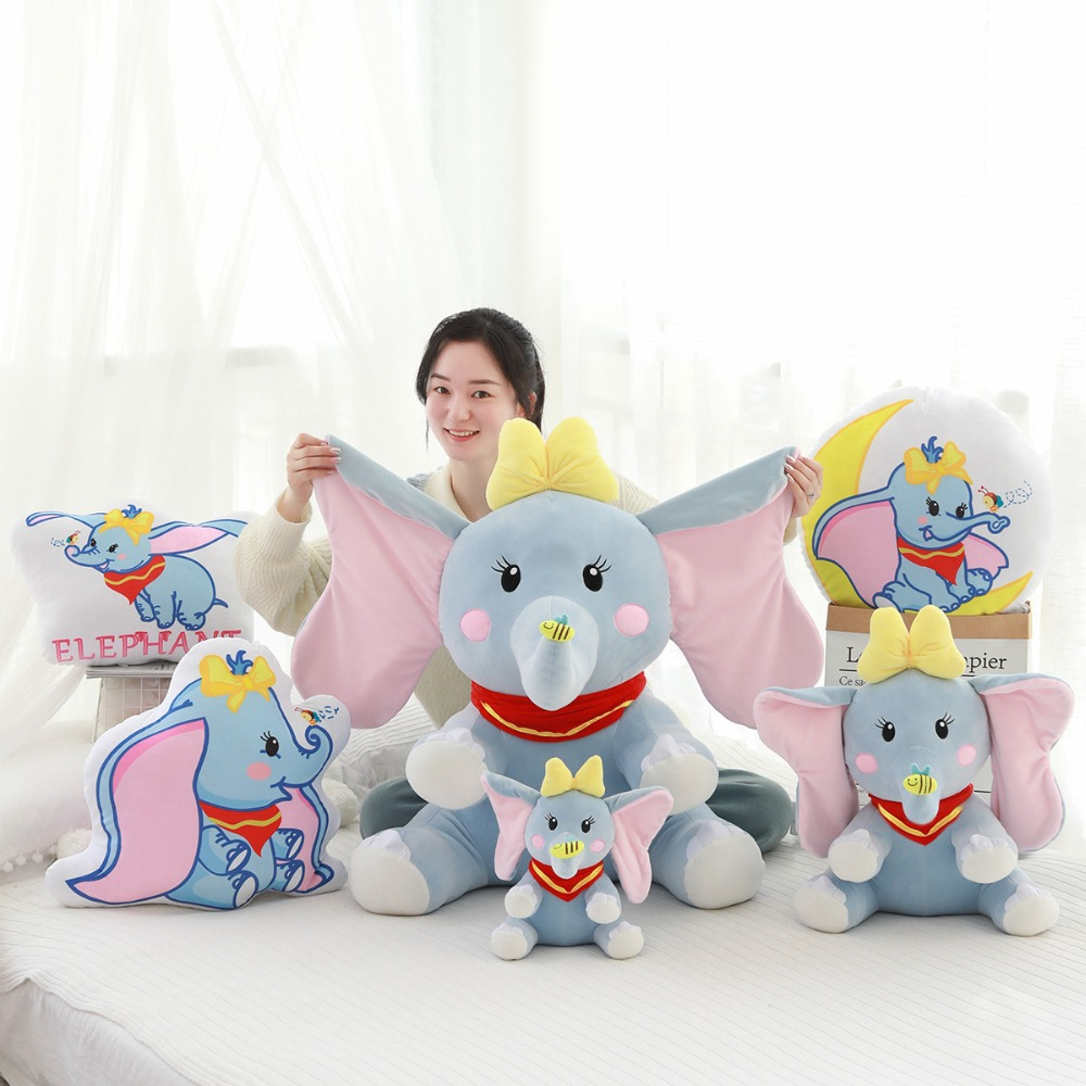 New Cartoon Dumbo Elephant Plush Toys Soft Cute Pillow Stuffed Kawaii Doll For Baby Christmas Gift Or Collection Home Decoration