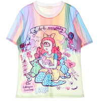2016 Camisa Anime Feminina Schattige Zomer Leuke Anime Patroon Shirt Vrouwen Meisjes Zoete Lolita Japan Kawaii Vrouwelijke Tops Tee
