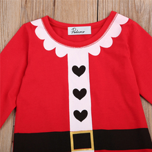 2017 Autumn Kid Baby Boy Girl Xmas Santa Claus Costume Clothes Long Sleeve Top T-shirt Children Christmas Clothing 0-4T