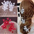 12 PCS Handmade Bead Pearl Flower Hair Pins Bridal Hair Accessories Jewelry Bridesmaid Hair Clip For Women Wedding