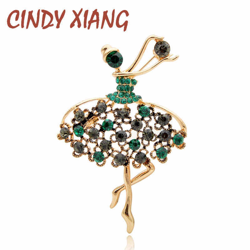 CINDY XIANG Rhinestone Vintage Girl Brooches for Women Elegant Cute Dancing Lady Pins Fashion Jewelry Coat Handbag Accessories