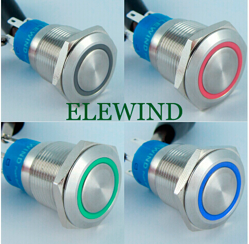 ELEWIND 19mm 3 led color Latching type push on lock button switch(PM192F-11ZE/J/RGB/12V/S 4pins for led)