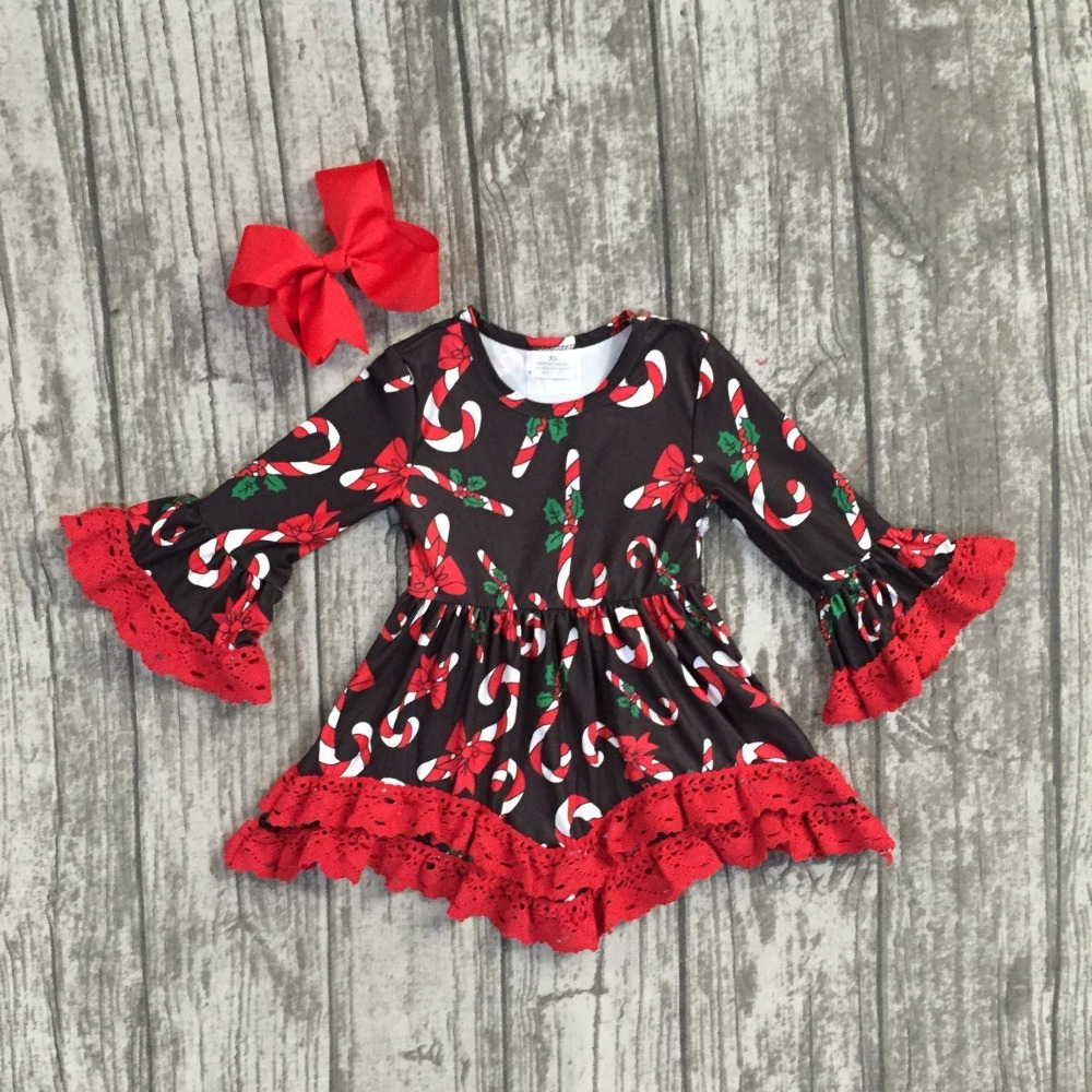 Christmas girls children clothes baby hook candy cane cotton Fall/Winter long sleeve ruffles dress boutique match accessories christmas baby girls children clothes off shoulder boutique cotton it s cold outside outfits plaid snowflake match accessories