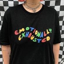 Emotionally Exhausted Colorful Printed T-Shirt Tumblr Grunge Black Tee