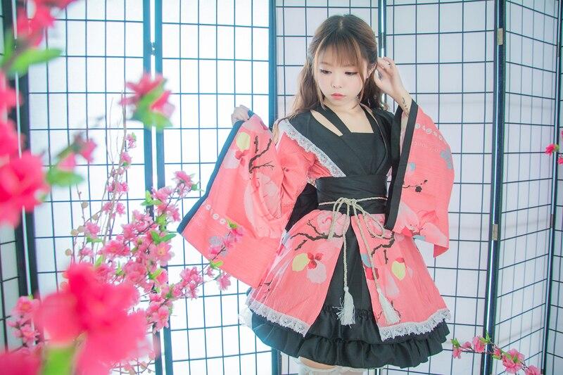 Shanghai histoire coton fleur impression dentelle bord Kimono Yukata robe de chambre Anime Lolita ensembles Meidofuku uniforme tenue - 3