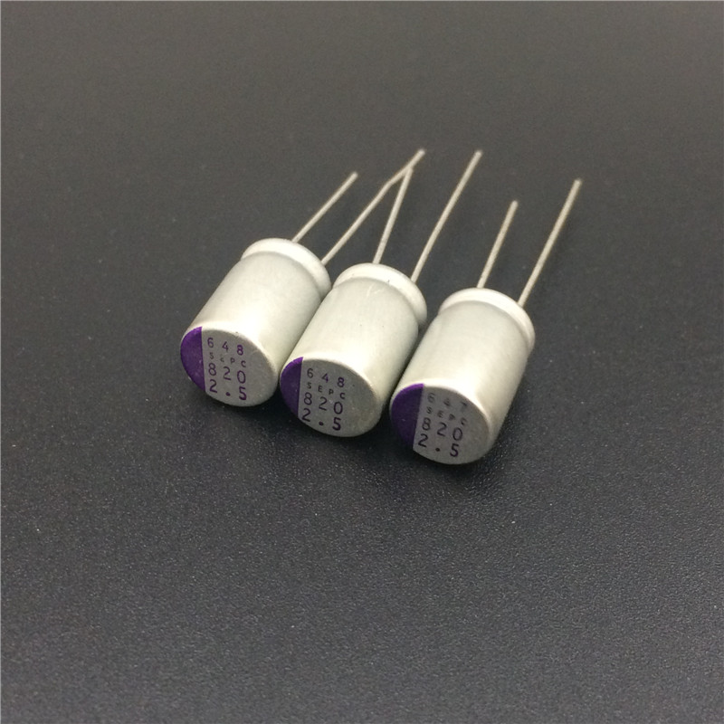 10pcs 820uF 2.5V SANYO OS-CON SEPC 8x13mm Ultra Low ESR 2.5V820uF For Motherboard Solid Capacitors