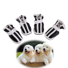 Мода Pet Обувь большой маленький собака из искусственной кожи удобные ботинки Водонепроницаемый Нескользящие щенок Обувь