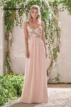 New Rose Gold Sequins Chiffon Long Bridesmaid Dresses A Line Spaghetti Backless Beach Wedding Gust Dress vestido de festa