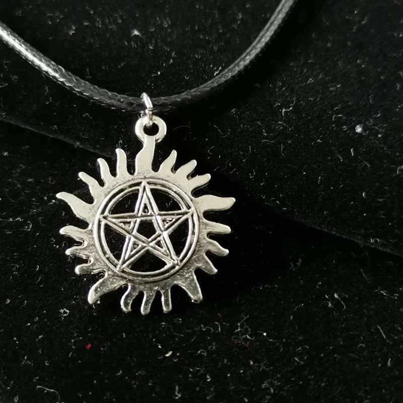 Collar de cordón de cuero Supernatural hombres mujeres Bijoux Vintage plata pentagrama sol mal poder Supernatural colgante película joyería