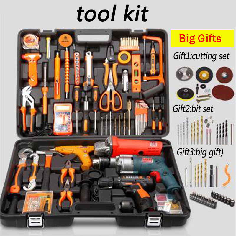 Household tools package Hardware set Electric drill home electrician maintenance Multi-functional portable hardware tools цены