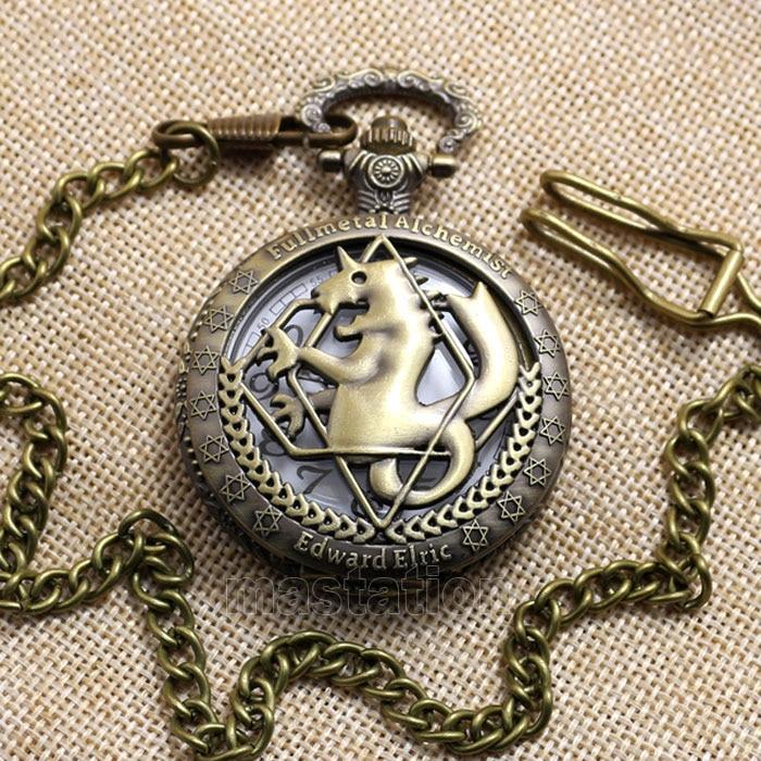 Hot Steampunk Fullmetal Alchemist Bronze Horse Clock Hollow Quartz - Zakhorloge - Foto 3