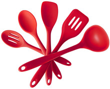 Boxed spot silicone kitchenware nonstick cookware set silicone cooking suit 5 pieces of kitchen supplies