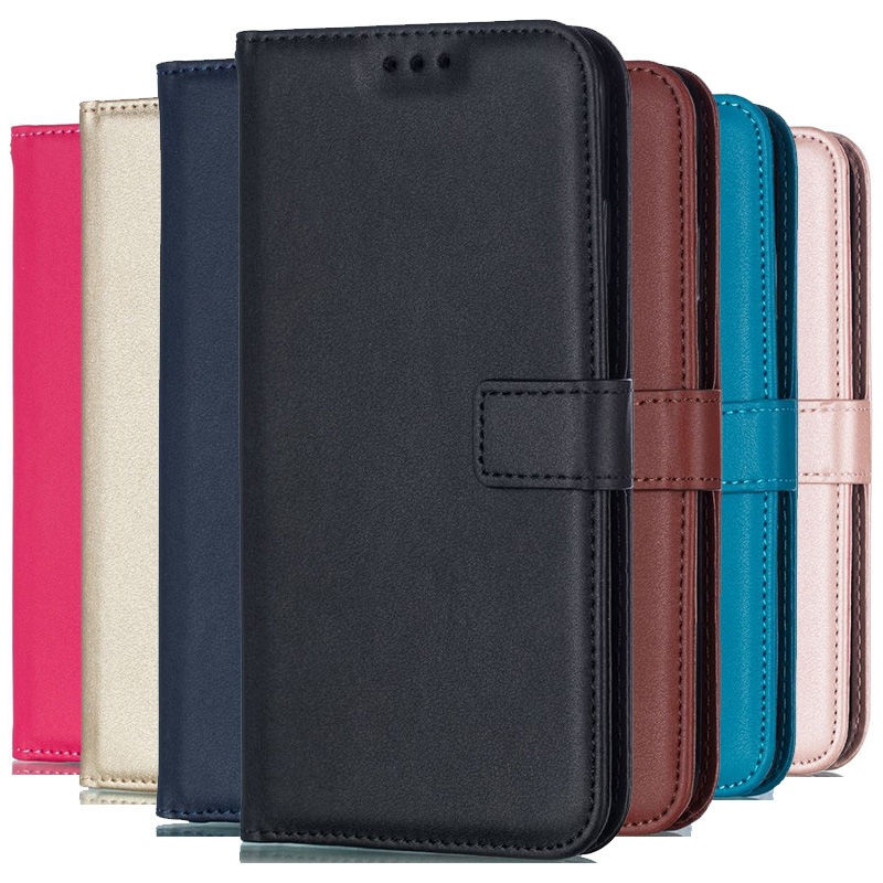 Solid Color Leather Wallet Case For Motorola Moto G2 G4 Play G5S G6 Plus 2018 X