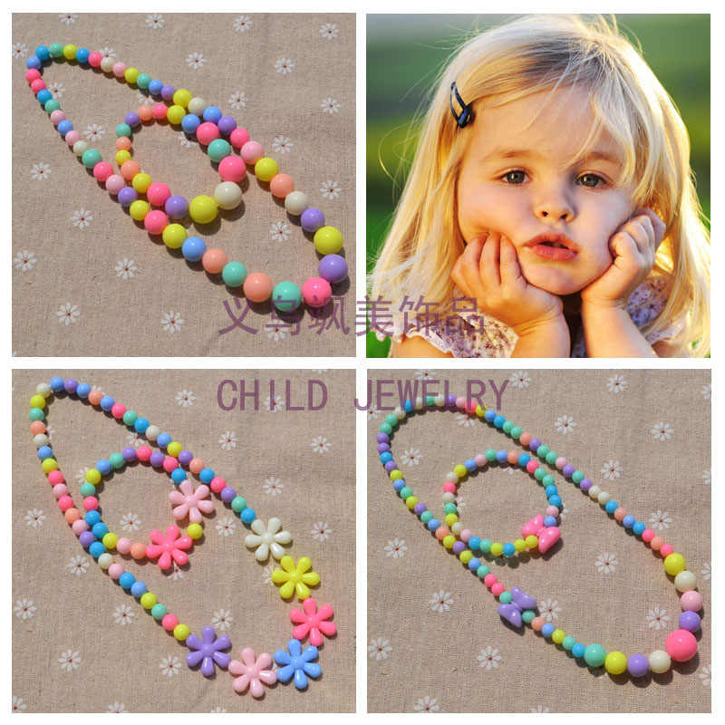 New Style Cute Girl's Gifts Cartoon Children Lovely Jewelry sets Mix Color Acrylic Beads Flower Necklace And Bracelet