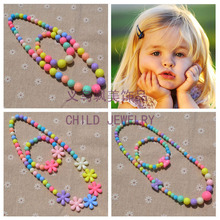New Style Cute Girls Gifts Cartoon Children Jewelry sets Mix Color Acrylic Beads Flower Necklace And Bracelet