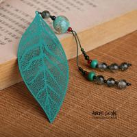 High Quality Hand Made Chinese Vintage Design Metal Bookmark Leaf Agate Tassel Book Markers Free Shipping